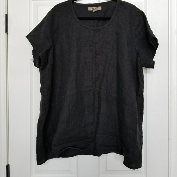 2d214dcb2d9 Flax Tops - Flax black linen tunic 1G womens sizes 18 - 20